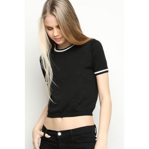 Tops - Brandy Melville Black Crop Tee
